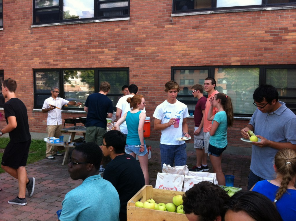 Students enjoy locally raised food outside of Nason Hall
